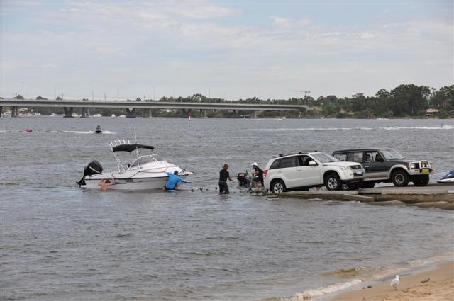 Launching a boat at Deep Water Point
