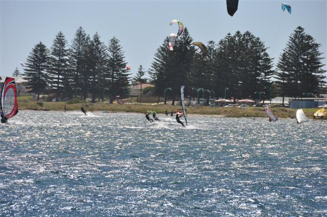 A busy day kite surfing at Rockingham