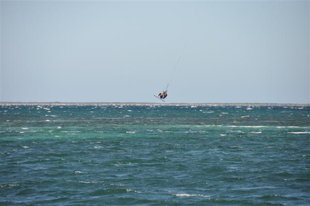Hang time kite surfing at Rockingham