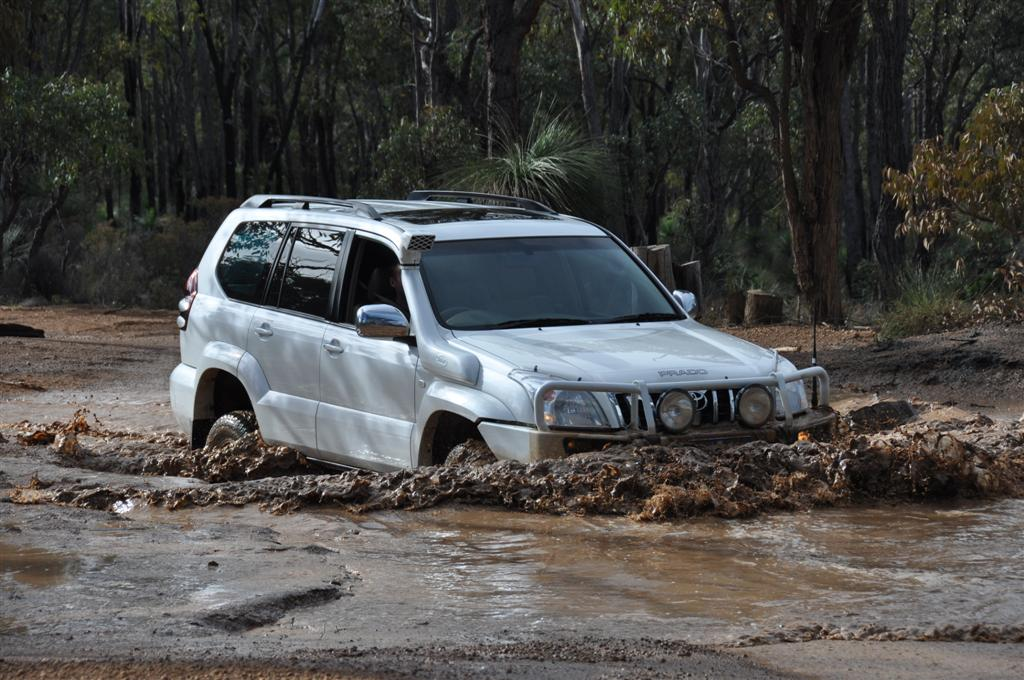 4l Prado Going Through a Water Crossing