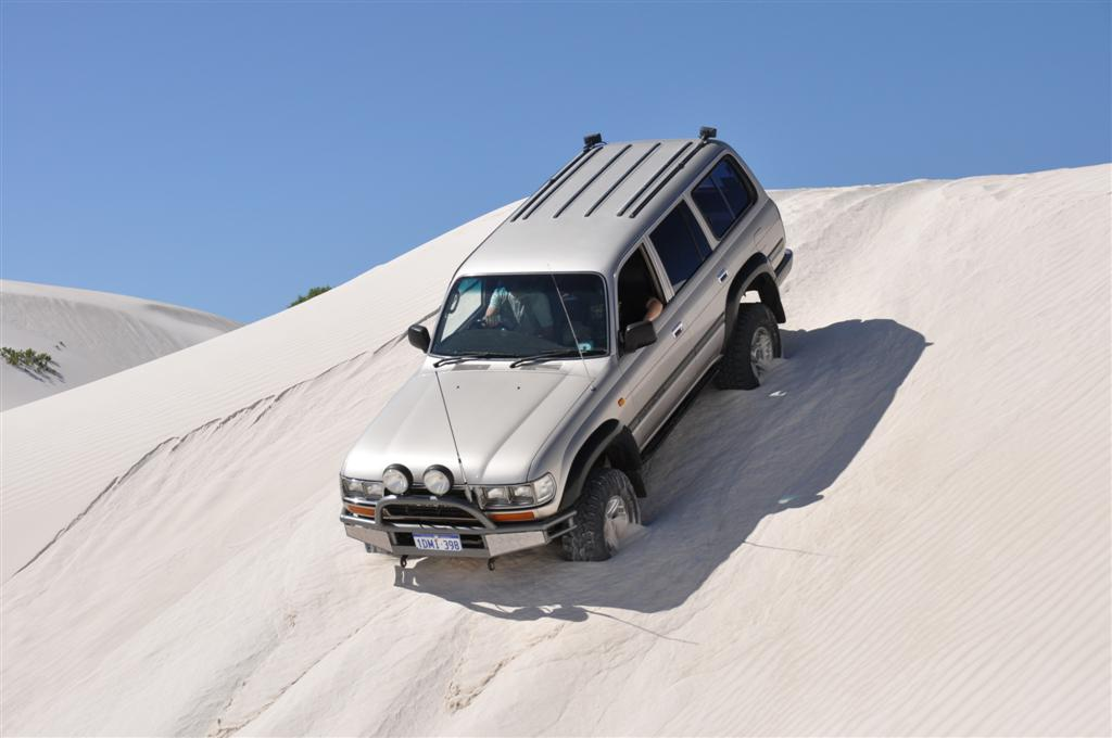 Descending a Steep Dune at Lancelin
