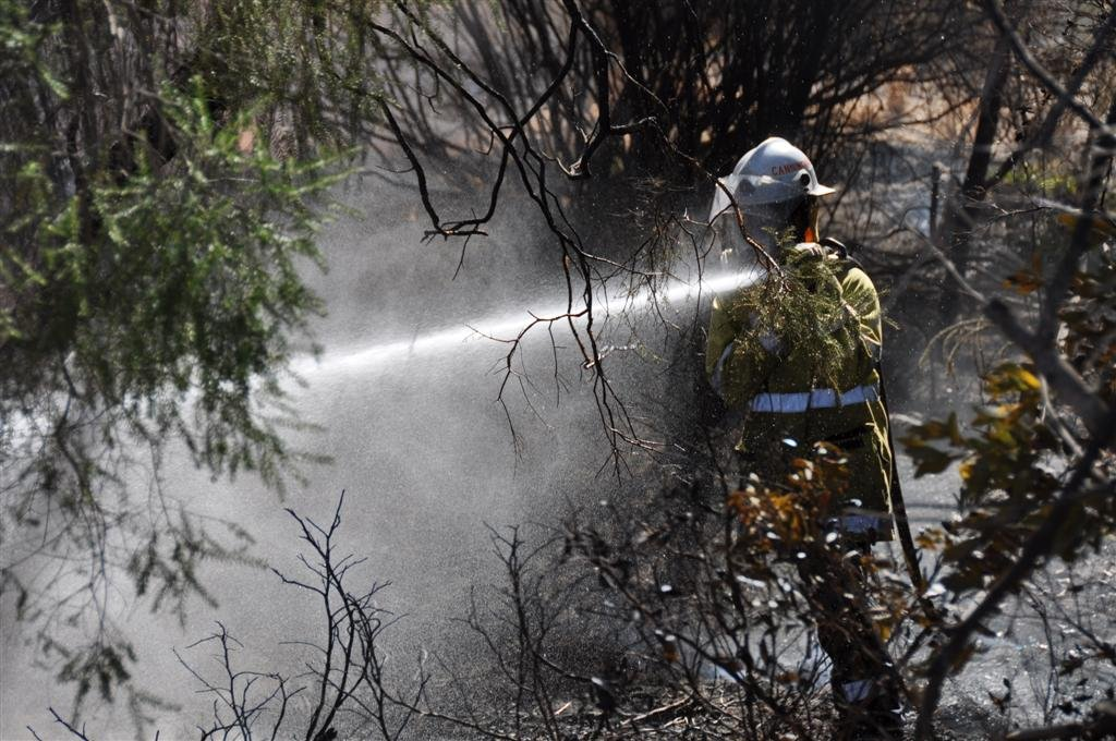 Fire Fighters Putting Out a Local Fire