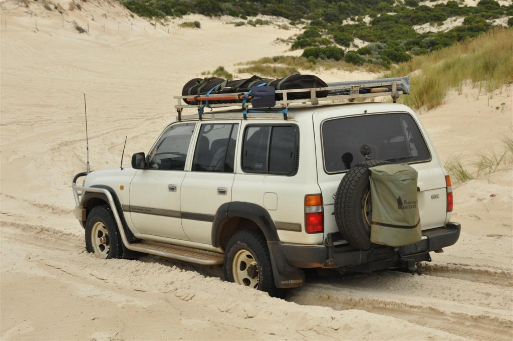 Driving down the dune to Yeagarup