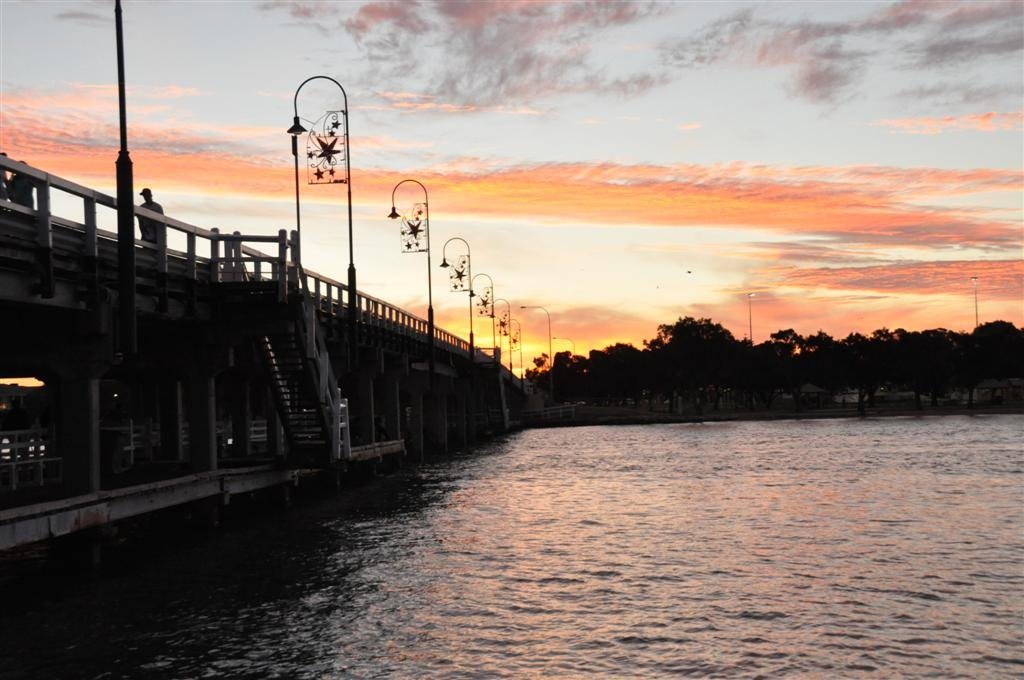 Sunset over the old Mandurah Bridge