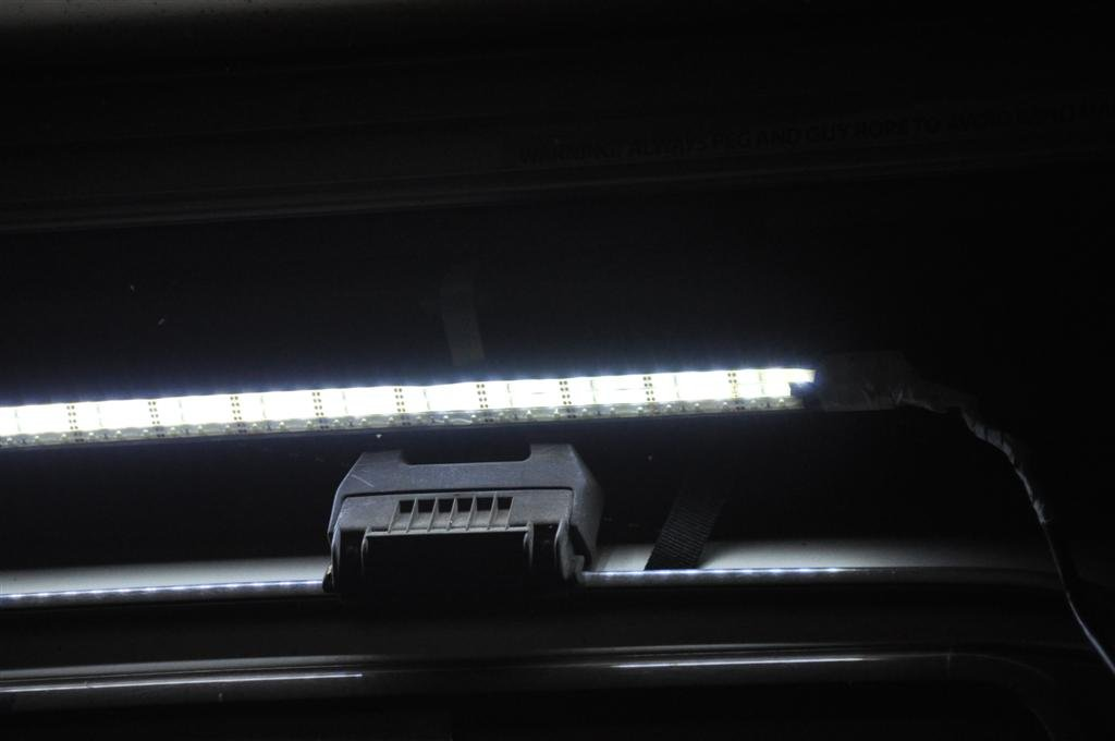 LED Strip lighting on an awning