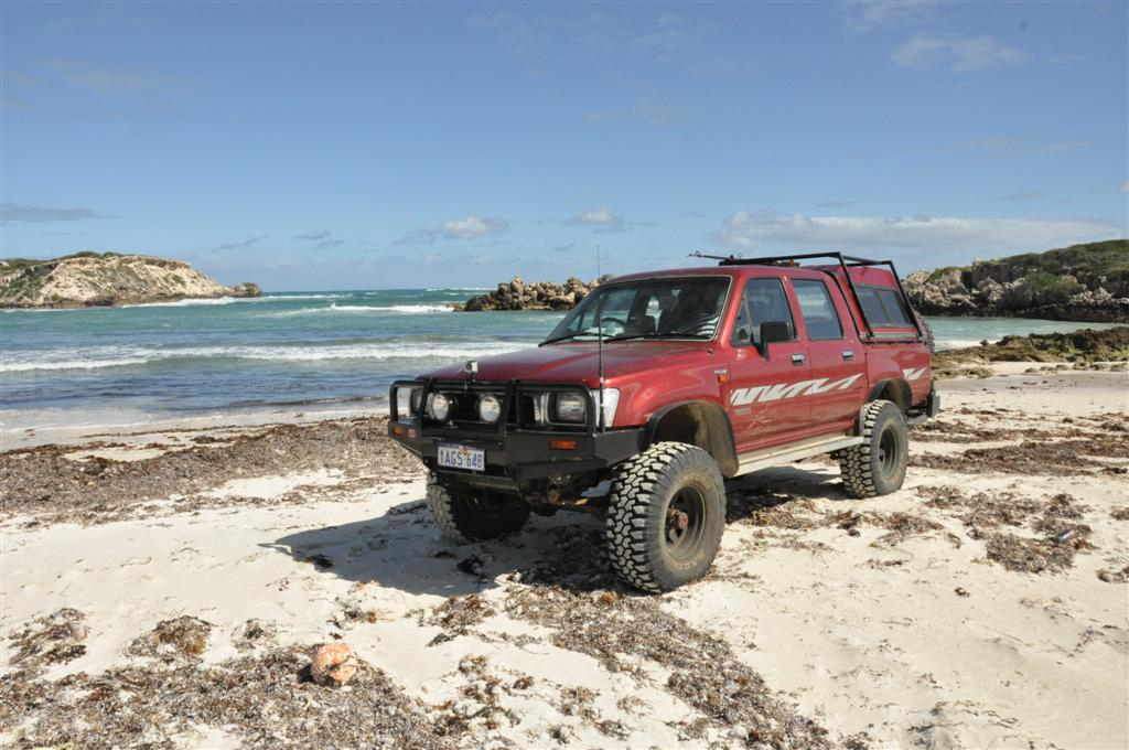 22R Hilux on the beach