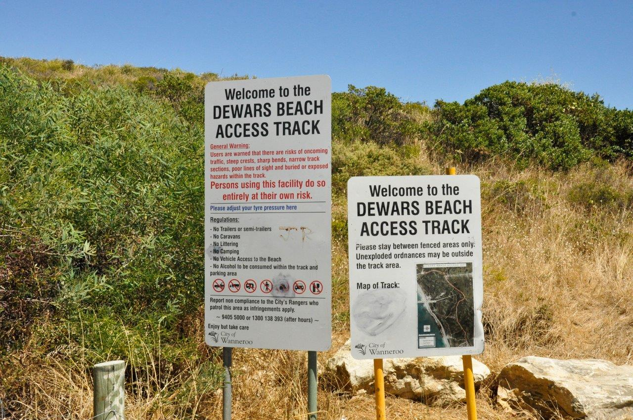 Dewars Track Entrance Sign