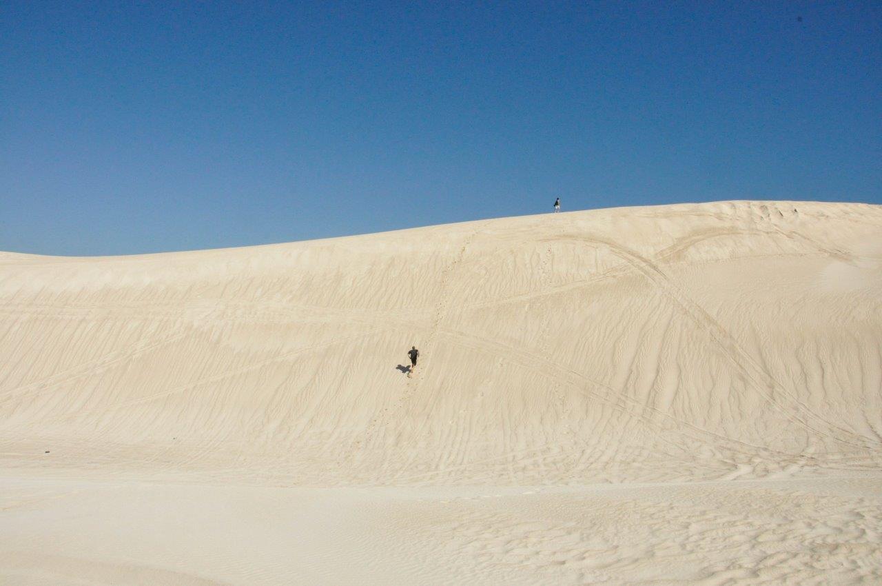 Lancelin sand boarding in the dunes