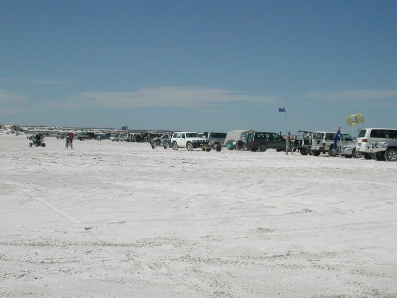 Wedge Island beach on a busy day