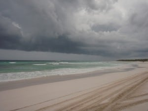A storm coming in over the beach