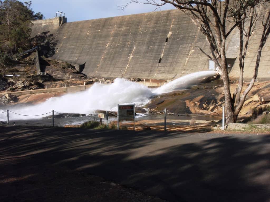 Wellington Dam shooting water