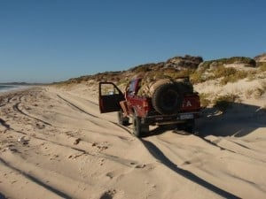 Driving up a beach north of Perth