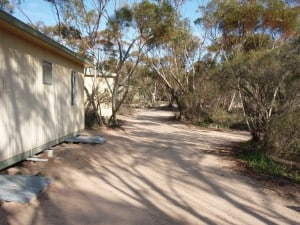 The caravan park's cabins