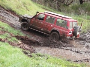 Playing in the mud in the hills