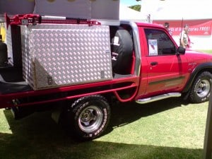 A GU ute set up for camping