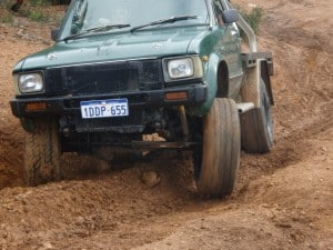 An older hilux with a big V8 in it
