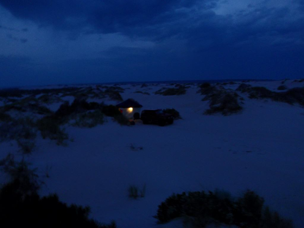 Camping behind the dunes