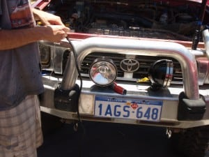 Fitting a set of spotlights to a four wheel drive