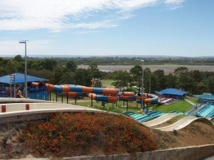 Looking over Bibra Lake and some waterslides