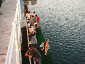 A few people fishing downstairs