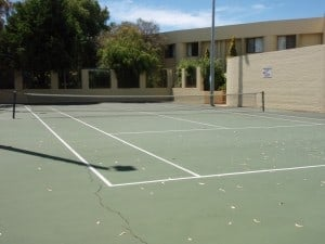 A full sized tennis court