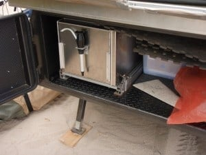 The slide out kitchen in a Camper Trailer
