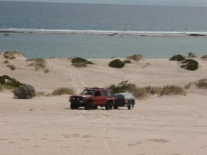 Towing a Camper Trailer across dunes