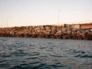 The groin leading out to Garden Island