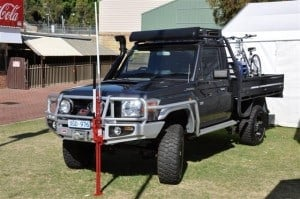 A highlift jack on a Land Cruiser