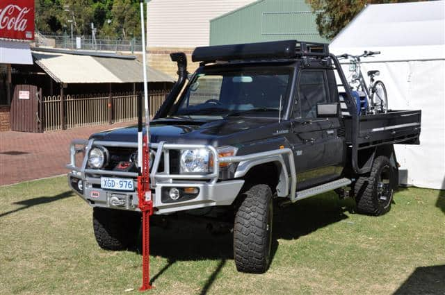 A highlift jack on a Land Cruiser