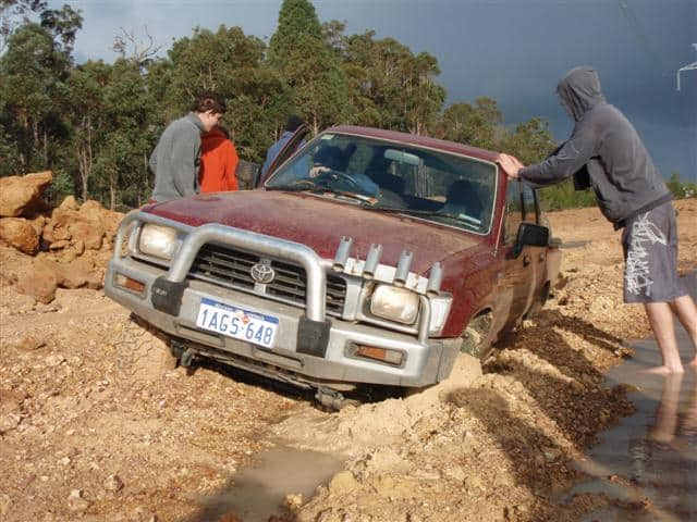 Hilux stuck in the mud