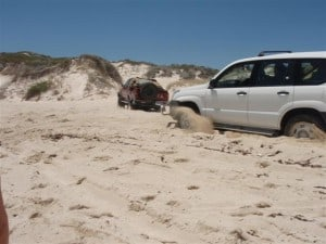 Beach in a prado and getting stuck