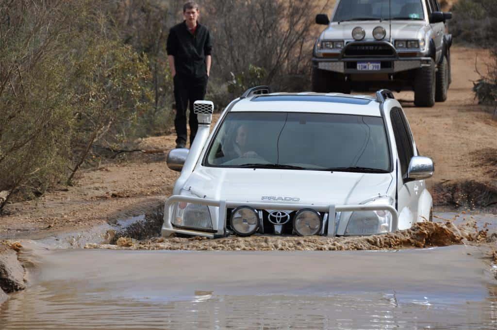 Crossing water in Toyota