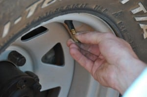 Slow Tyre Deflation with a rock