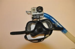 Go Pro mounted on snorkel mask