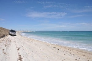 Driving along the beach at Lancelin 300x199 Lancelin Accommodation