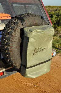 4WD spare wheel rubbish bin