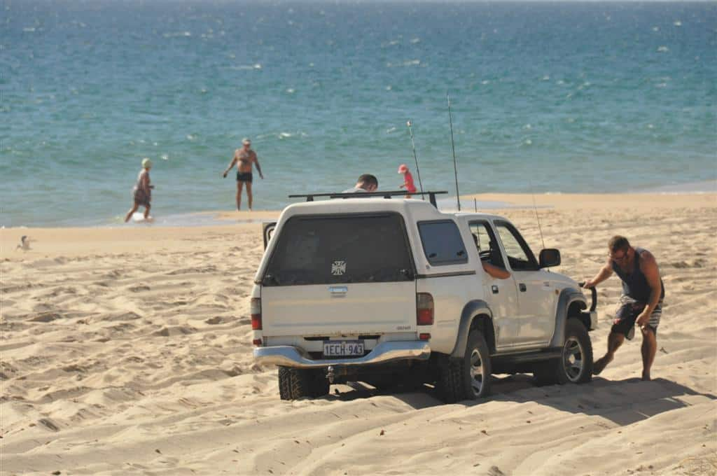 4WD on beach bogged