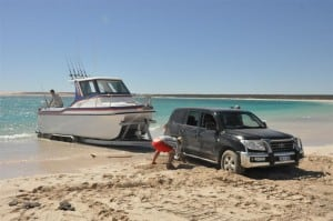 Beach launching a big boat