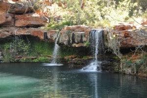 Enjoying the waterfall at Fern Pool