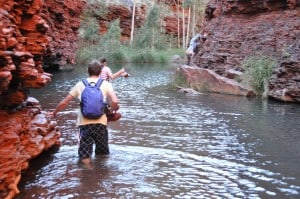 Enjoying the water at Karijini
