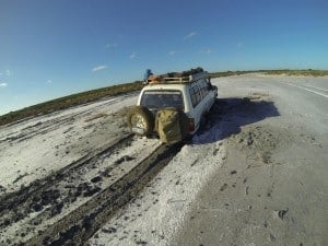 Bogged in a salt lake