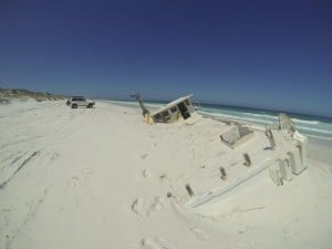 The washed up boat at Israelite Bay