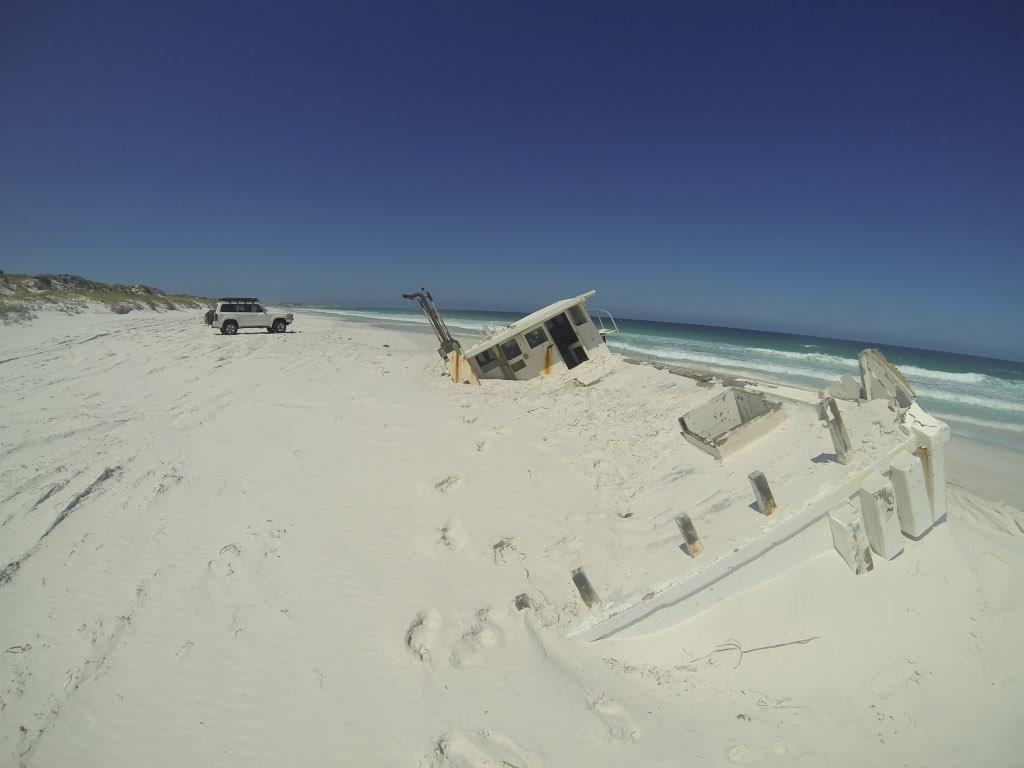 Washed up boat at Israelite