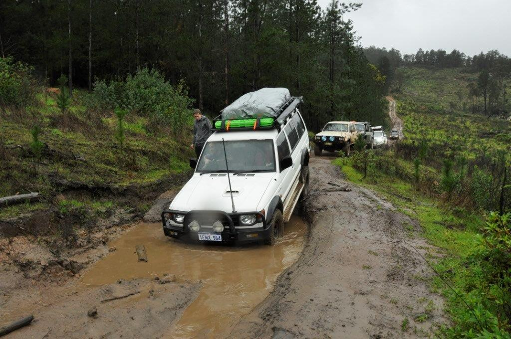 Pajero entering a mud hole
