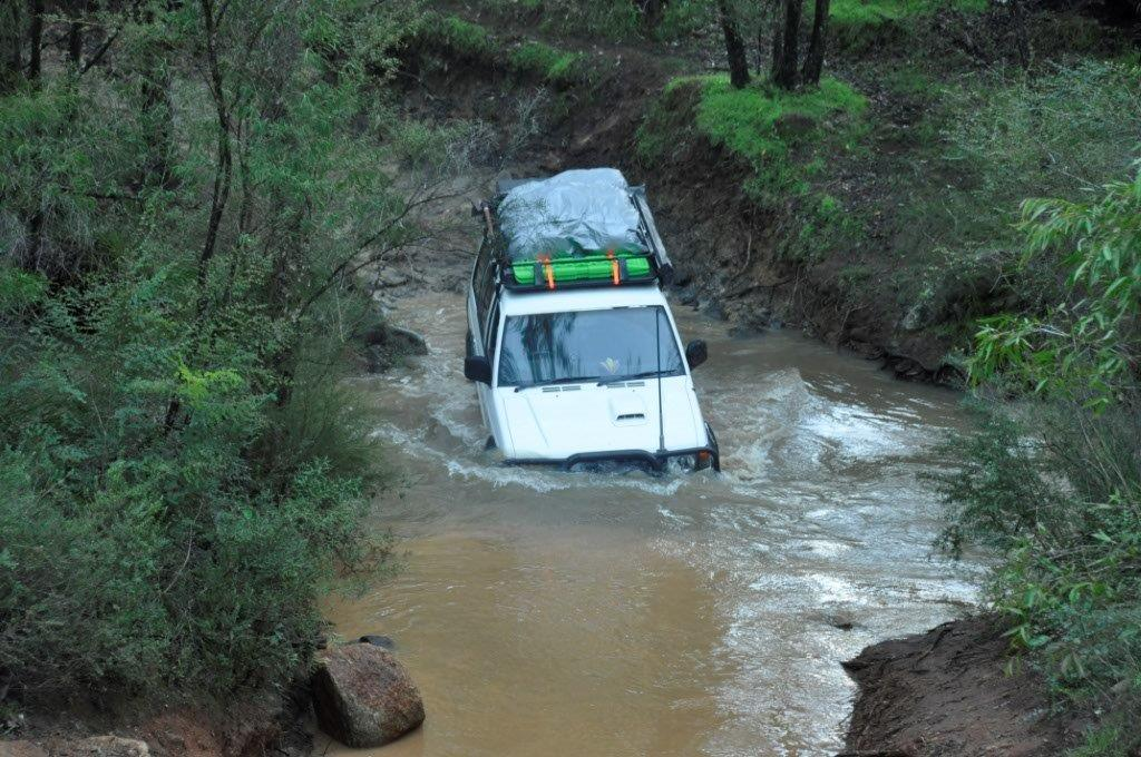 Pajero water crossing