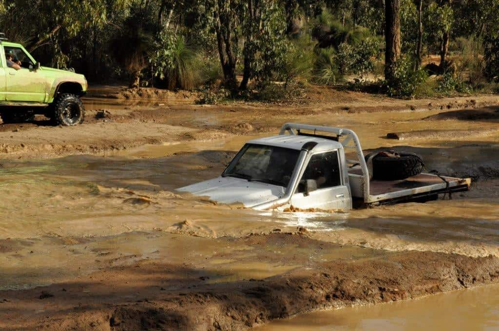 Water crossings in a 4WD