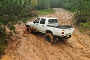 The hilux giving it a whirl at Harvey