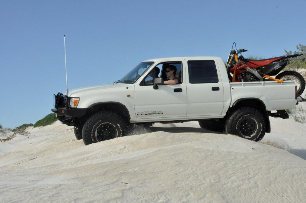 Hilux on the beach