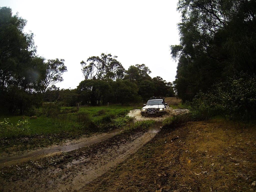 Crossing water in a 4WD